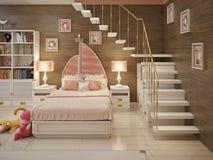 Girls bedroom marine style Royalty Free Stock Image