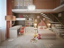 Girls bedroom modern style Stock Images