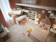 Girls bedroom in neoclassical style Royalty Free Stock Photos