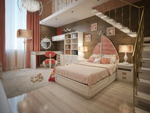 Girls bedroom in neoclassical style. 3d visualization Royalty Free Stock Images