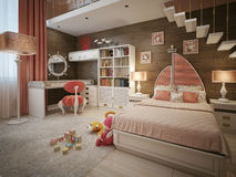 Girls bedroom in neoclassical style. 3d visualization Stock Photos