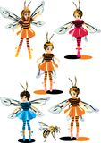 Girls in bee costumes. Illustration with girls in bee costumes Royalty Free Stock Image