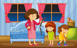 Girls being punished by mother in bedroom. Illustration Stock Photo