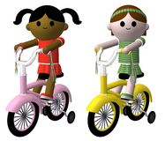 Girls on bikes. Illustration of two girls riding bikes stock illustration