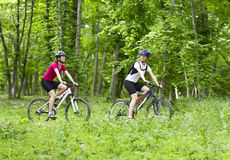 Girls  biking in the forest Royalty Free Stock Photography