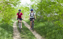 Girls  biking in the forest Stock Photos