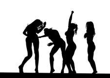 Bikini dance women seven. Girls in a bikini dance at disco party Royalty Free Stock Photography