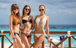 Girls in bikini relax on the background of the ocean. Three young girls with beautiful figure, two girls in black - one in a white bikini, sunglasses, wearing a stock images