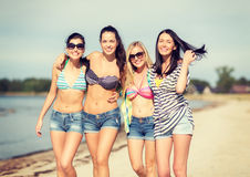 Girls in bikinis walking on the beach Stock Photos