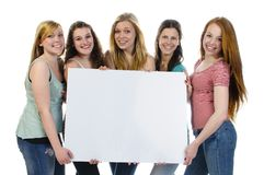 Girls with billboard Royalty Free Stock Photo