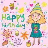 Girls birthday. Cartoon  background Stock Photos