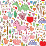 Girls birthday pink seamless pattern with animals Stock Images