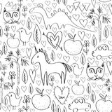 Girls birthday pink seamless pattern with animals and hearts black outline  on white background for site, blog, coloring b. Ook, fabric. Vector illustration Stock Photo