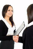 Girls in a black business suit Stock Photo