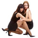Girls in black dresses Royalty Free Stock Photos