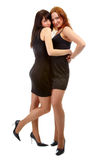 Girls in black dresses Stock Images