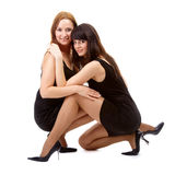 Girls in black dresses Royalty Free Stock Photo