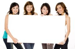 Girls And Blank Sign Stock Image