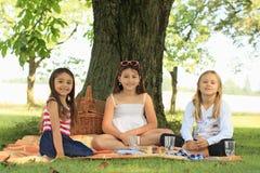 Girls on blanket having picnic. Three happy girls sitting on blanket under the tree and having picnic Stock Photos