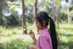 Girls blowing bubbles in nature stock photos