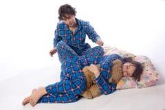 Girls in blue pajamas Royalty Free Stock Images
