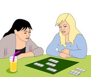 Girls with Board Game Stock Images