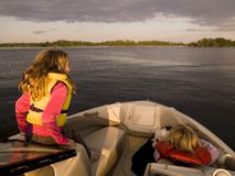 Girls On A Boat. On the Lake Royalty Free Stock Photos