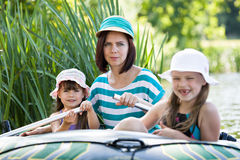 Girls on boat Royalty Free Stock Photo