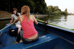 Girls on a boat. Two young and nice girls on the boat Stock Images