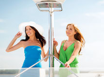 Girls on boat or yacht Stock Photo