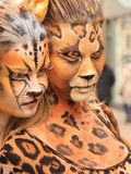 Bodypainted  models in the street Stock Photos