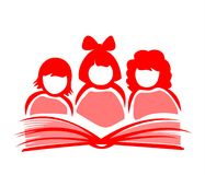 Girls and book vector illustration