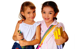 Girls and books. Girls keep books and pencils in hers hand Stock Photography