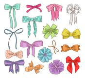 Girls bow vector girlish bowknot or girlie ribbon on hair or for decorating gifts on Birtrhday illustration set of bowed Royalty Free Stock Images