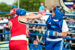 Girls in boxing competition Stock Image