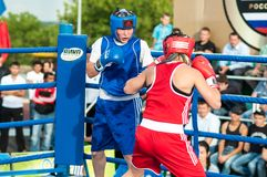 Girls in boxing competition Royalty Free Stock Image