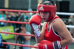 Girls in boxing competition Royalty Free Stock Images