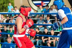 Girls in boxing competition Royalty Free Stock Photos
