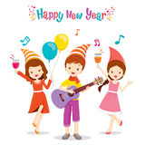 Girls And Boy Fun With Party. Happy New Year Merry Christmas Xmas Objects Festive Celebrations Royalty Free Stock Photography