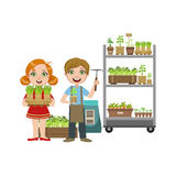 Girls And Boy With Gardening Inventory Stock Photo
