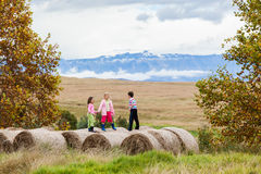 Girls Boy Play Farm Bales Royalty Free Stock Photos