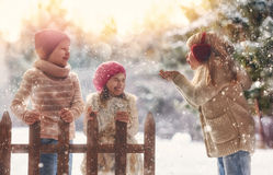 Girls and boy playing on a winter walk Royalty Free Stock Image