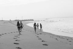 Girls Boy Running Beach Black White Royalty Free Stock Photography