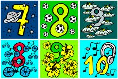 Happy birthday numbers to play and learning numbers with pictures about hobbies from 7-10 for kids. Happy birthday numbers to play and learning numbers with stock illustration
