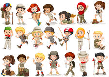 Girls and boys in camping costume Stock Photo