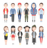 Girls and boys in casual clothes set Stock Photography