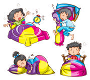 Girls and boys with colourful blankets and pillows Royalty Free Stock Photo