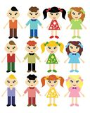 Girls and boys in different clothes Stock Photos