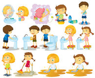 Girls and boys doing chores vector illustration