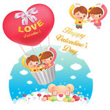 A Girls and boys Fly in the sky riding balloon. Valentine Charac Stock Image